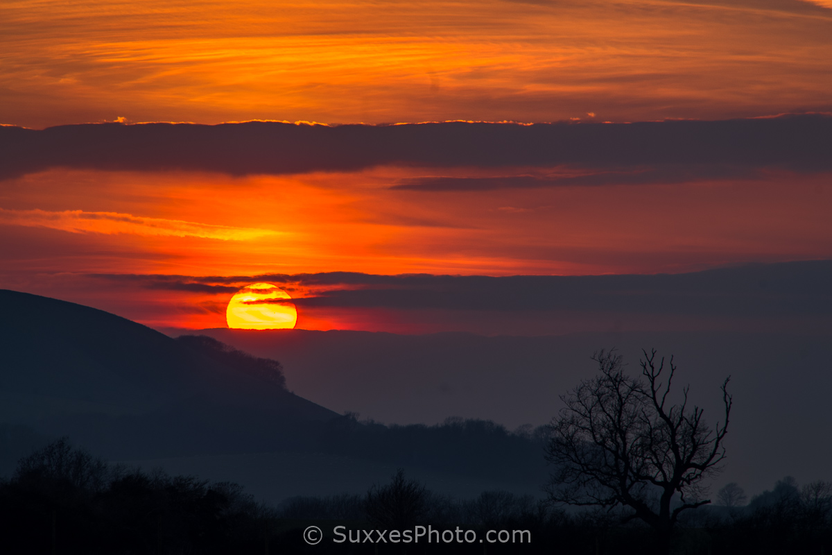 ditchling sunset sussex